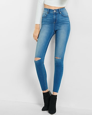 high waisted raw hem jean legging