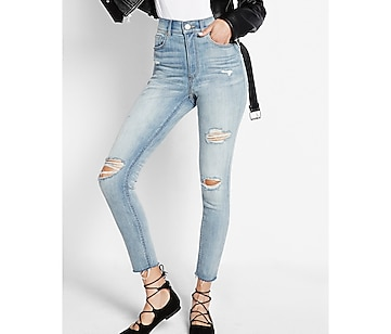 super high waisted distressed crop jean legging