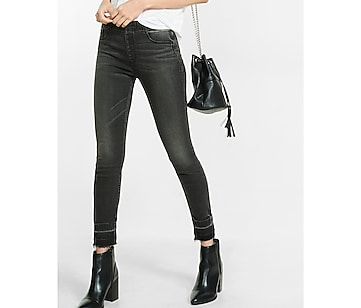 mid rise black cropped pull on jean legging