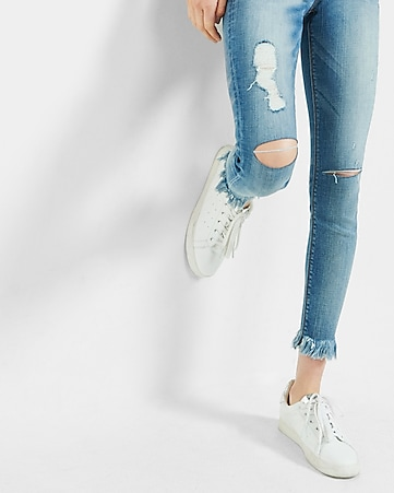 distressed mid rise frayed hem ankle jean legging