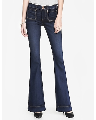 Express Womens Dark Patch Pocket Mid Rise Bell Flare Jean