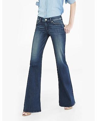 EXPRESS Women's Jeans Dark Blue Faded Mid Rise Wide Leg Flare Jean