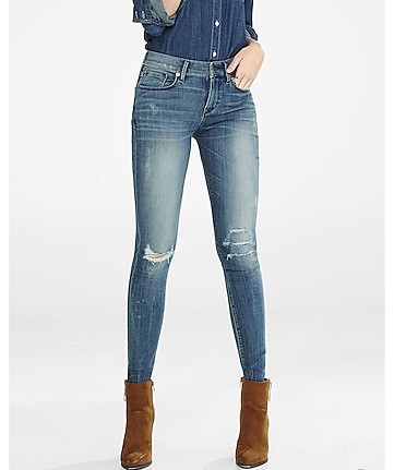faded distressed mid rise jean legging