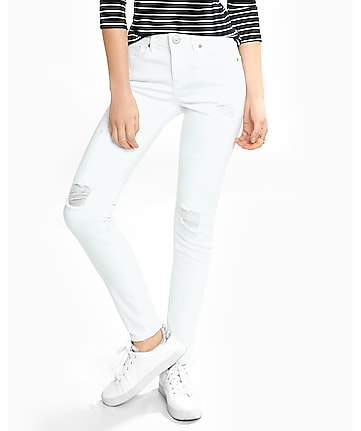 distressed white mid rise jean legging