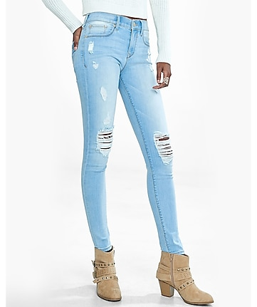light mid rise distressed jean legging