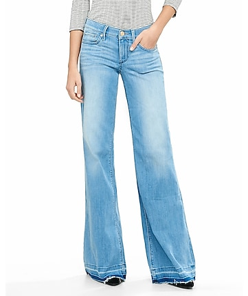 mid rise released hem wide leg flare jean
