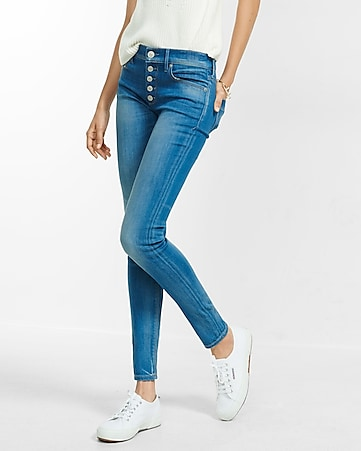 mid rise button fly jean legging