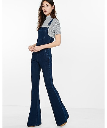 dark blue denim flare overalls