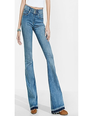 Express Womens Mid Rise Released Hem Bell Flare Jean