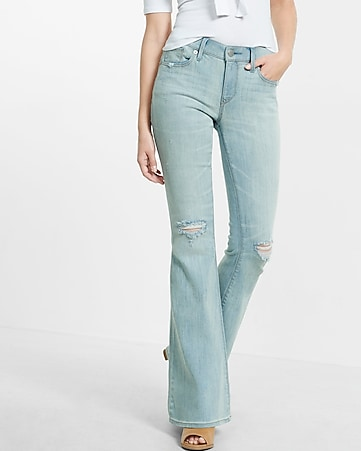 distressed light blue bell flare jean