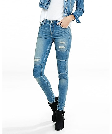patched distressed mid rise jean legging