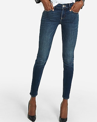 Express Womens Mid Rise Performance Stretch Skinny Jean