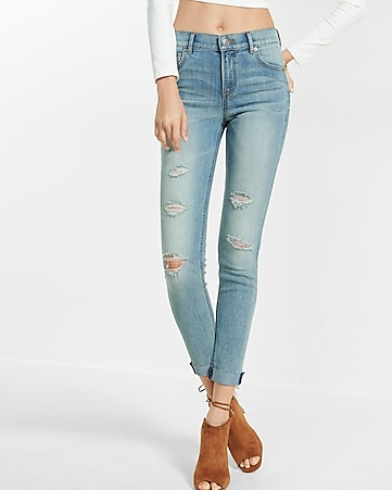 high waisted distressed raw hem ankle jean legging