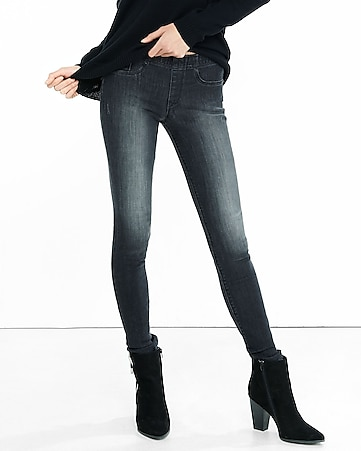 black mid rise pull-on jean leggings