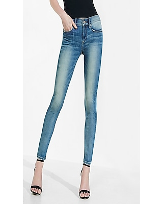 Express Womens Faded Mid Rise Super Skinny Jean