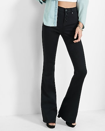 black high waisted button fly slim flare jean