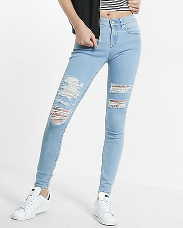 distressed mid rise jean leggings