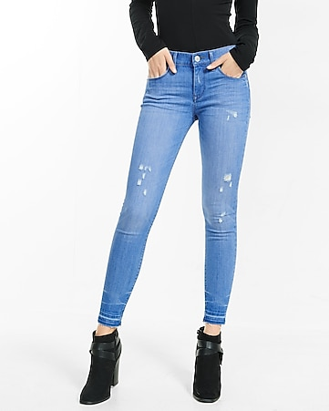mid rise released hem distressed ankle legging