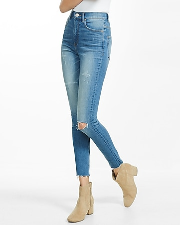 super high rise raw hem denim ankle leggings