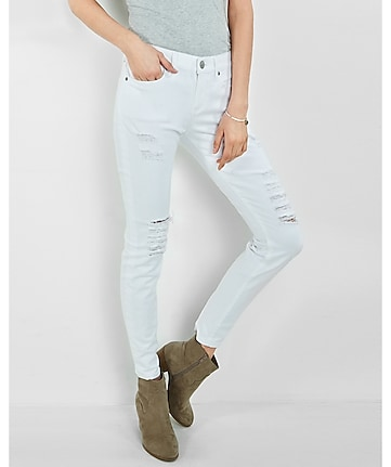 distressed mid rise white jean leggings