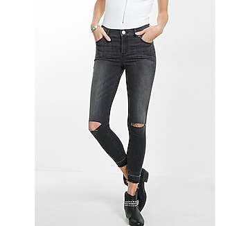 distressed high waisted released hem jean legging
