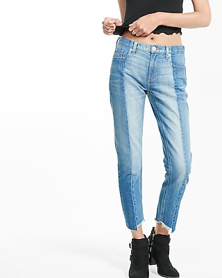 Express Womens Pieced Raw Hem Girlfriend Jean