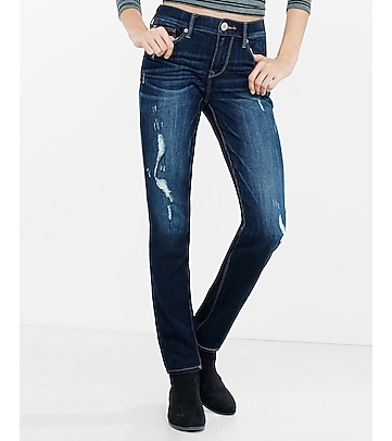 distressed mid rise super skinny jean