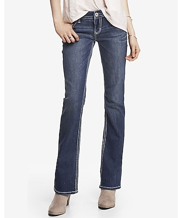 low rise thick stitch boot cut jean