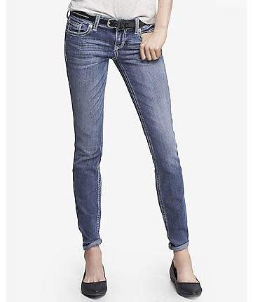 medium wash low rise thick stitch skinny jean
