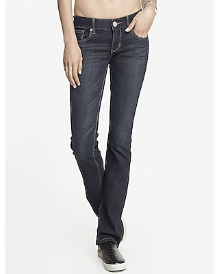 Express Womens Faded Dark Low Rise Barely Boot Jean