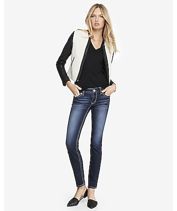 dark low rise thick stitch skinny jean