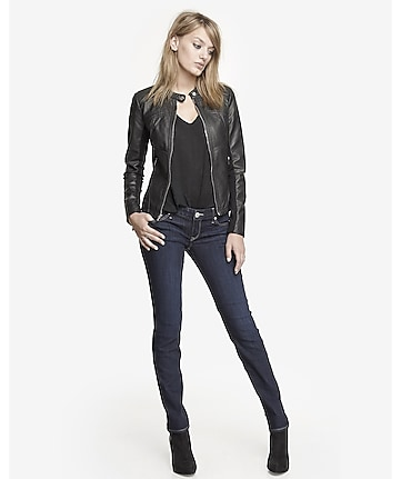 dark low rise skinny jean