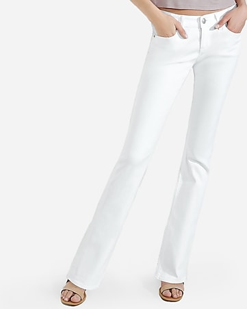 white low rise barely boot jeans