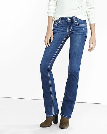 low rise thick stitch barely boot jean