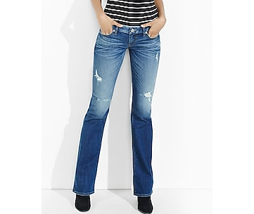 distressed dark low rise bootcut jean