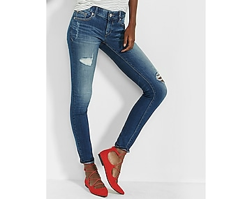 low rise distressed perfect stretch jean legging
