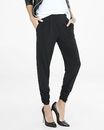 low rise ruched ankle pleated soft pant