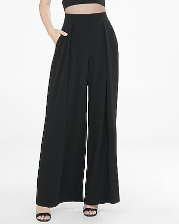 pleated wide leg knit pant