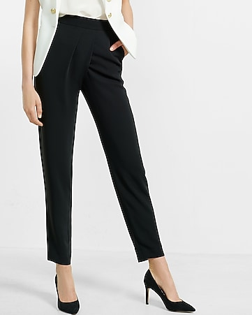 high waisted wrapover ankle pant