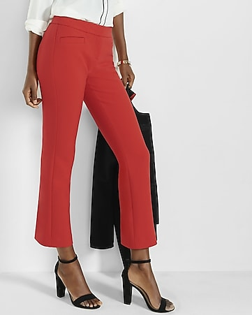 red cropped kick flare pants