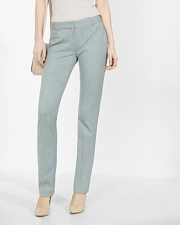 heathered low rise slim leg columnist pant
