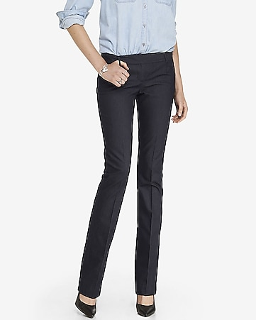 refined denim barely boot columnist pant