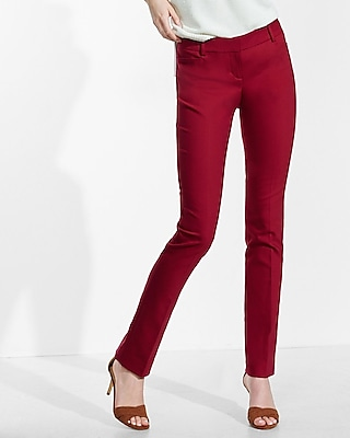Express Womens Low Rise Slim Leg Columnist Pant Red 18 Short