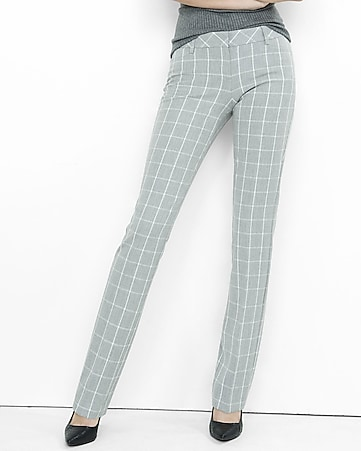 gray windowpane plaid slim leg columnist pant