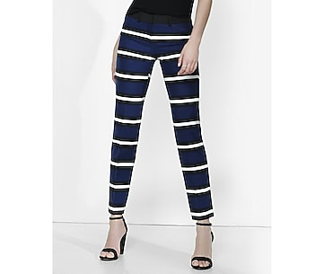black blue and white striped editor ankle pant