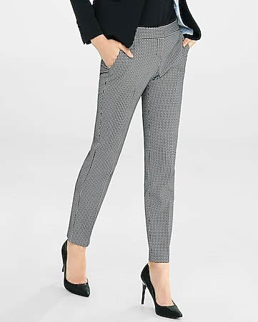 crosshatch print low rise columnist ankle pant