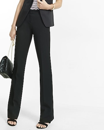 mid rise notch back flare editor pants