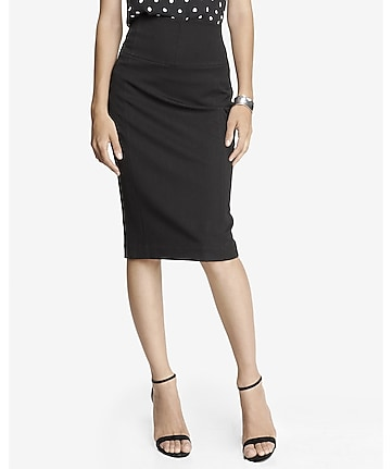 high yoke waist midi pencil skirt