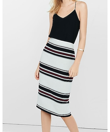 striped high waisted midi pencil skirt