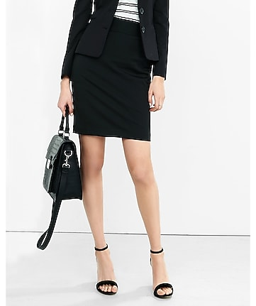 black high waisted pencil skirt